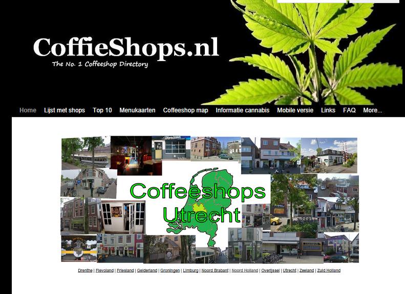 Screenshot van de homepage van CoffieShops.nl, de shops staan per provincie op de website
