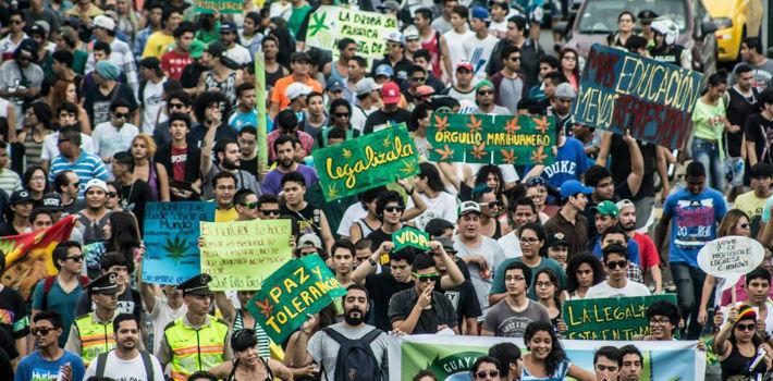 Ook in Ecuador gingen mensen in het eerste weekend van mei de straat op om te demonstreren voor legalisering van cannabis